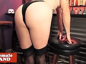 Bigtit shemale in stockings masturbating