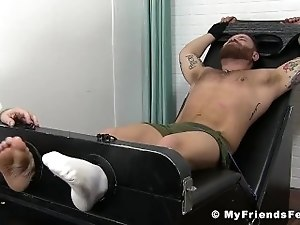 Bearded hunk restrained for merciless tickling action