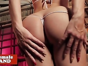 Bigtitted lingerie tgirl shows booty and tugs
