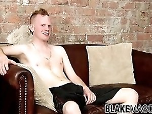Cute ginger twink lubes up his cock and wanks until cumshot