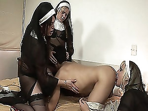 Dude gets his mouth and ass fucked by three shemale nuns